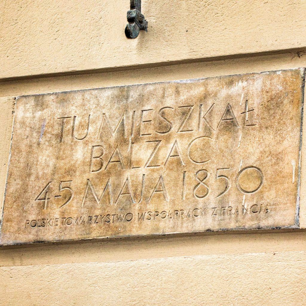 Tablica upamiętniająca pobyt Balzaca