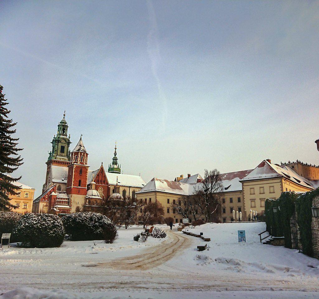 Widok na zimowy Wawel.